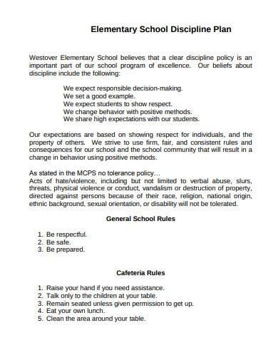 elementary school discipline plan template