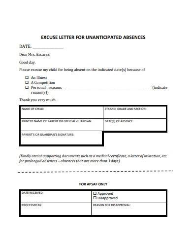 excuse letter for unanticipated absence