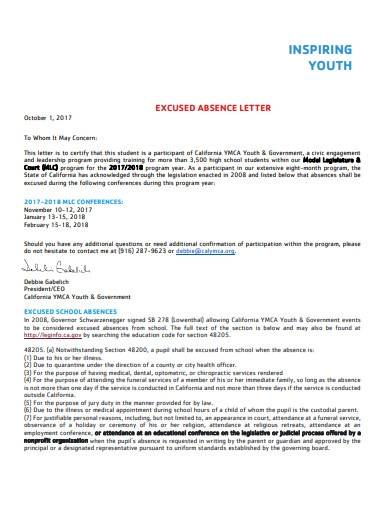 excused absence letter template