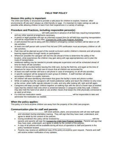 field trip policy template