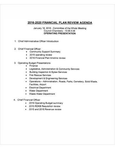 financial plan review agenda