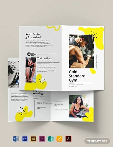 fitness bi fold brochure template