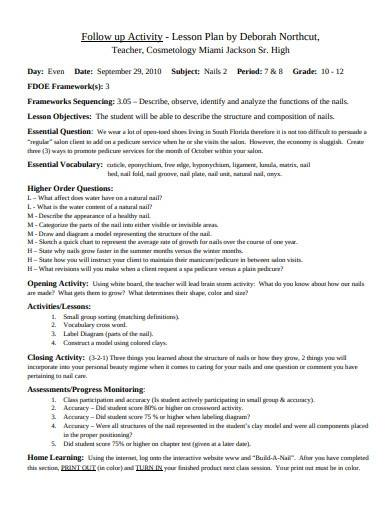 formal cosmetology lesson plan