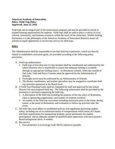 formal field trip policy template