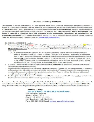 formal immunization requirements