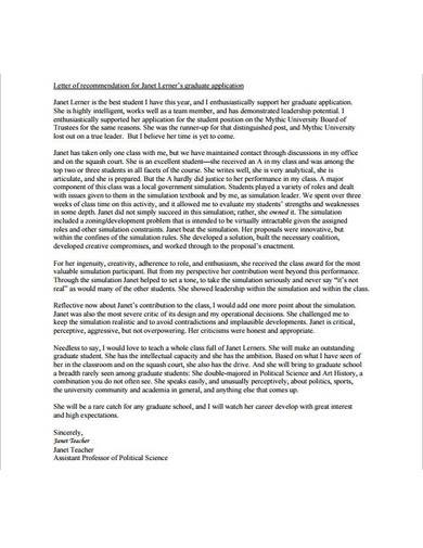 formal letter of recommendation for graduate school