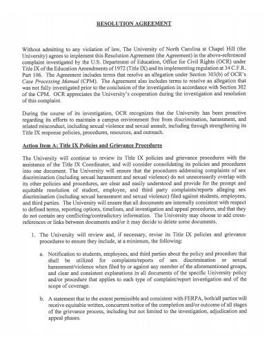 formal resolution agreement template
