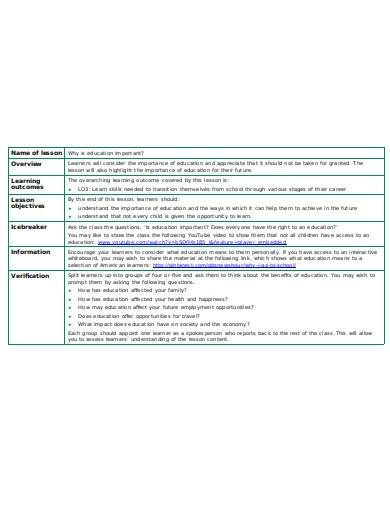 formal tutor lesson plan template