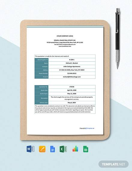 free basic real estate quotation template