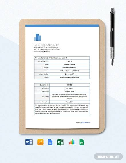free blank real estate quotation template