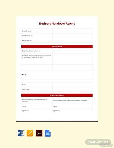 free business handover report
