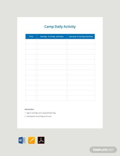 free camp daily schedule template
