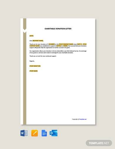 free charitable donation letter template