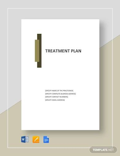 free editable treatment plan template
