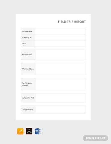 free field trip report template