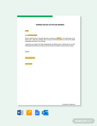 free formal excuse letter for absence
