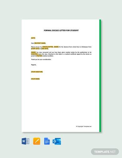 free formal excuse letter for student