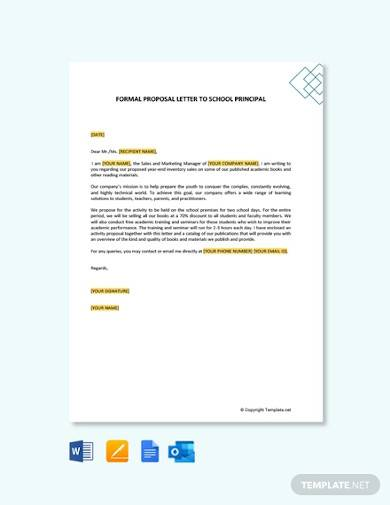 free formal proposal letter to school principal
