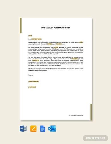 free full custody agreement letter