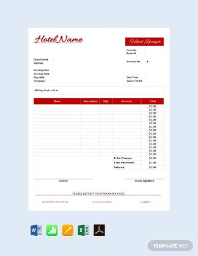 free hotel receipt template