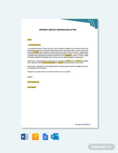 free internet service termination letter