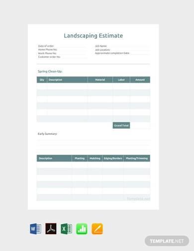 free landscaping estimate sample