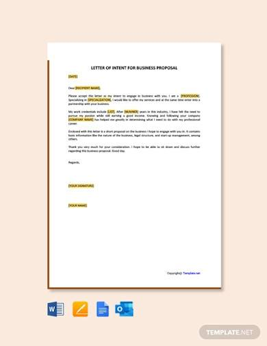 free letter of intent for business proposal