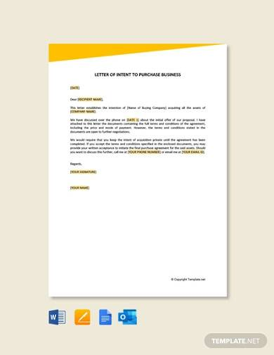 free letter of intent to purchase business