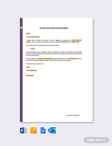 free letter template of intent for business