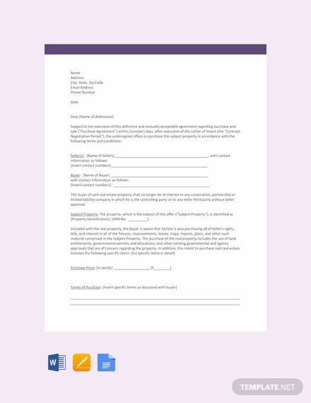 free letter template of intent for real estate