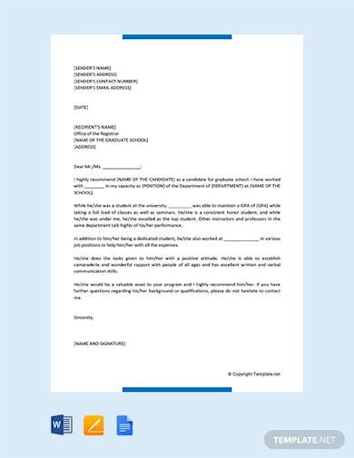 free letter of recommendation for graduate school admission