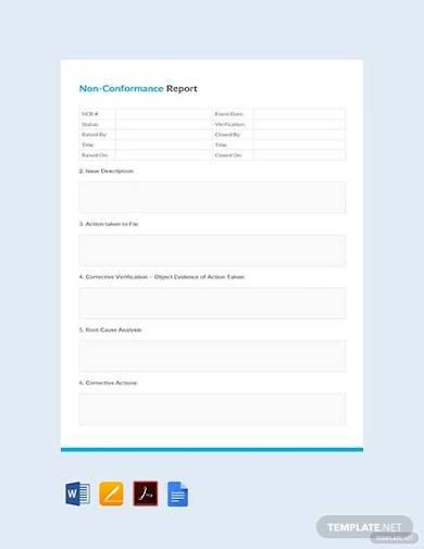 free non conformance report example