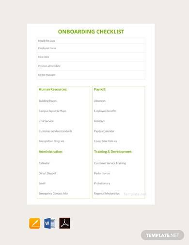 free onboarding checklist template