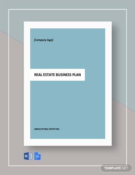free one page real estate business plan template