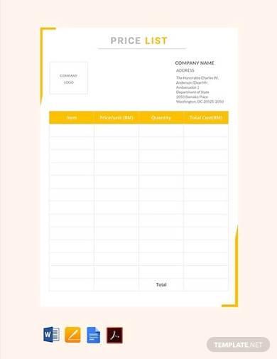 free price list template
