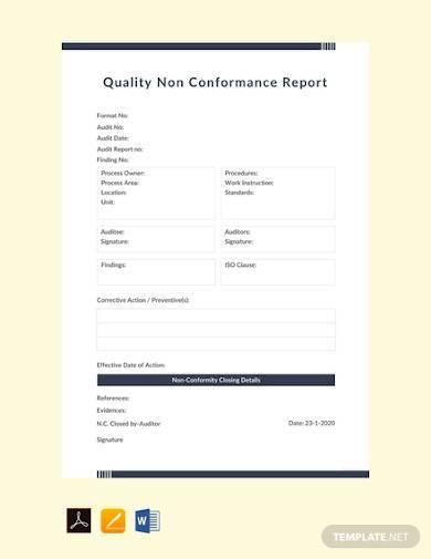 free quality non conformance report