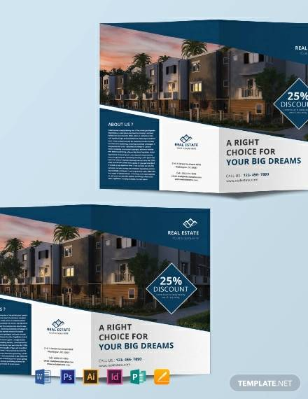 free real estate bi fold brochure template