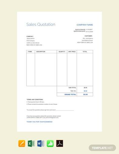 free sales quotation template