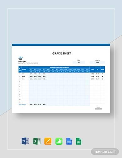 free sample grade sheet template