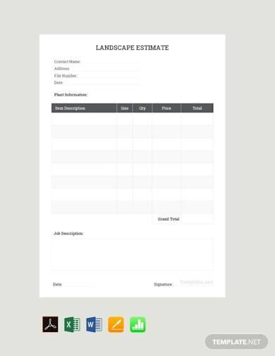 free sample landscaping estimate template