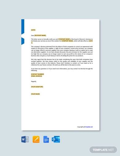free service termination letter to vendor