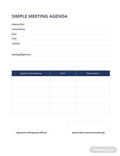free simple meeting agenda template