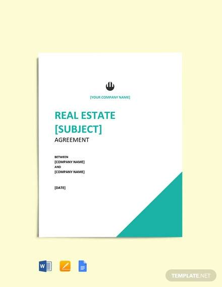 free simple real estate agreement template