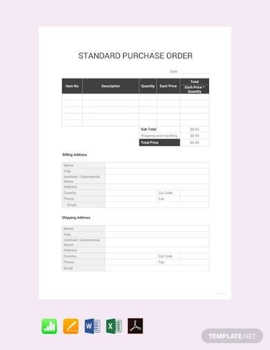 free standard purchase order
