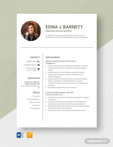 freelance graphic designer resume template