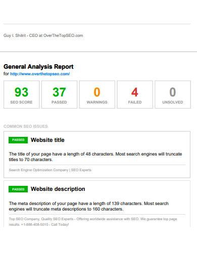 general analysis seo report sample
