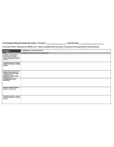 graduate research study plan sample