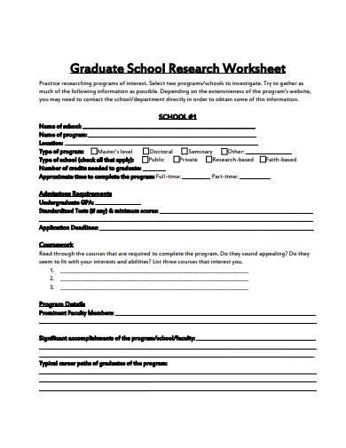 graduate school research worksheet