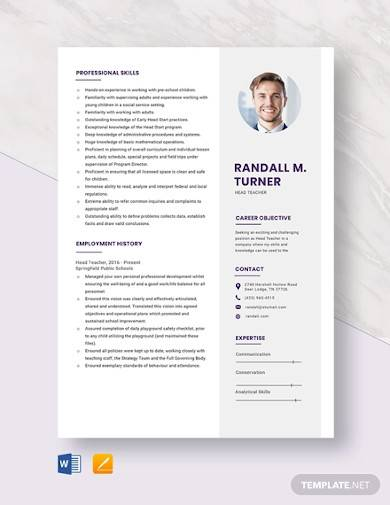 head teacher resume template
