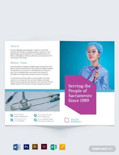 healthcare bi fold brochure template
